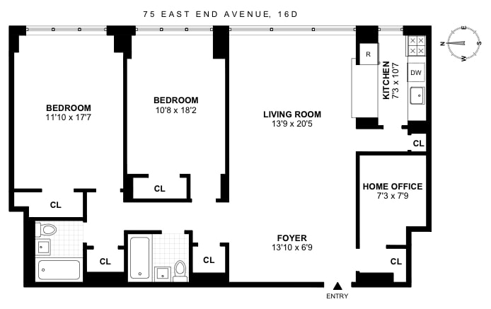75 East End Avenue 16D, Upper East Side, NYC, $1,360,000, Web #: 18359742