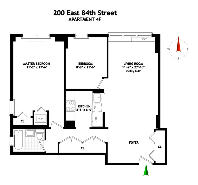 200 East 84th Street 4F, Upper East Side, NYC, $977,500, Web #: 18366416