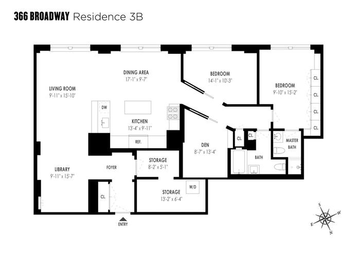 366 Broadway 3B, Tribeca, NYC, $2,495,000, Web #: 18448316