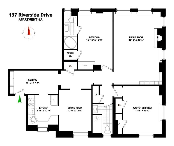 137 Riverside Dr 4A, Upper West Side, NYC, $1,850,000, Web #: 18478725