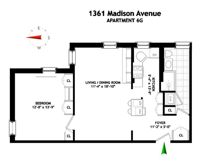 1361 Madison Avenue 6G, Upper East Side, NYC, $800,000, Web #: 18547523