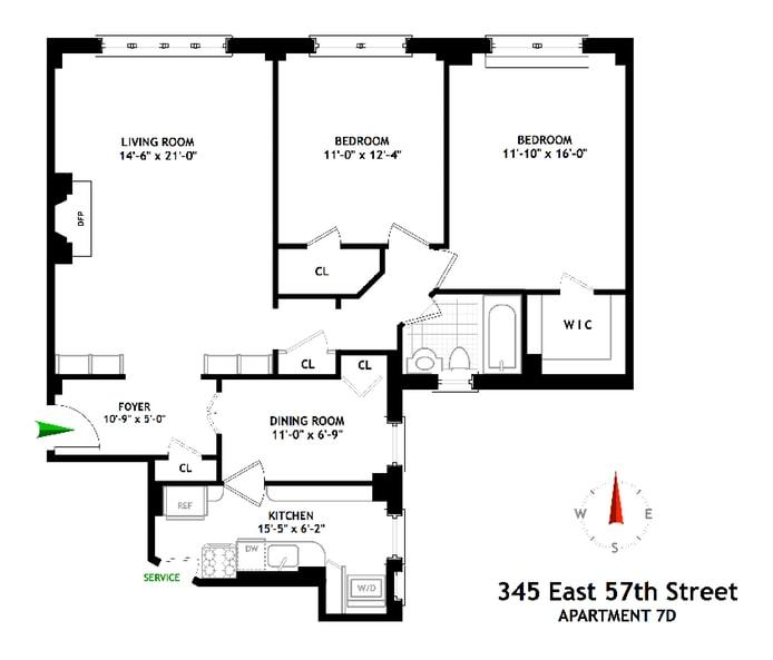 345 East 57th Street 7D, Midtown East, NYC, $1,035,000, Web #: 18618568