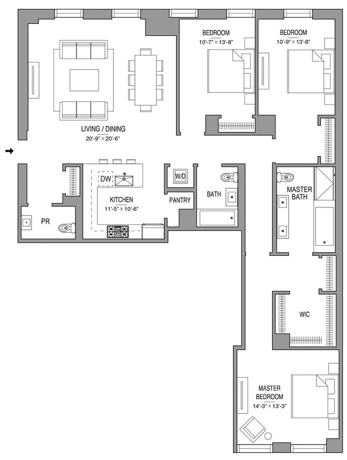 55 West 17th Street 504, Greenwich Village/Chelsea, NYC, $3,200,000, Web #: 18653790