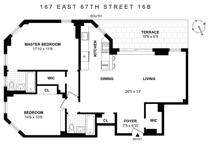 167 East 67th Street 16B, Upper East Side, NYC, $1,850,000, Web #: 18677400
