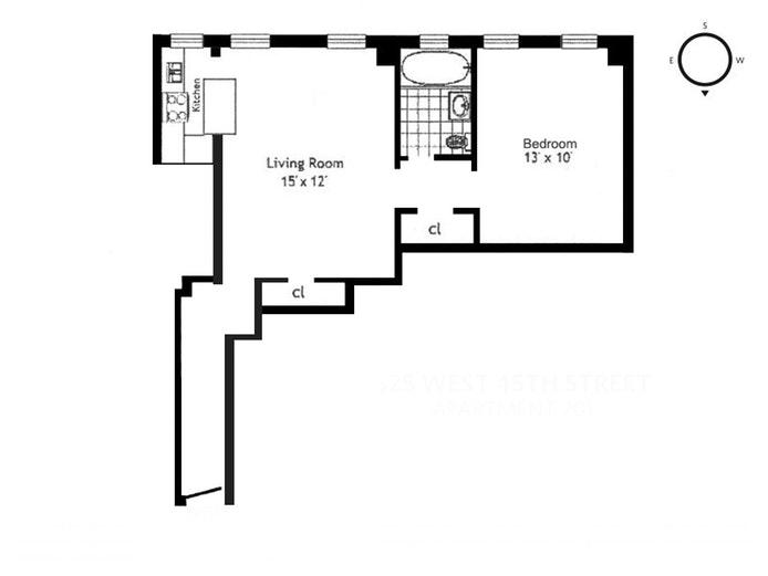 325 West 45th Street 701, Midtown West, NYC, $630,000, Web #: 18702594