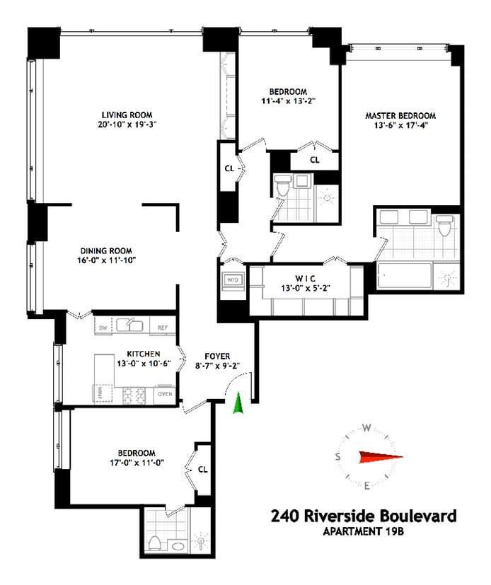 240 Riverside Boulevard 19B, Upper West Side, NYC, $3,800,000, Web #: 18727179