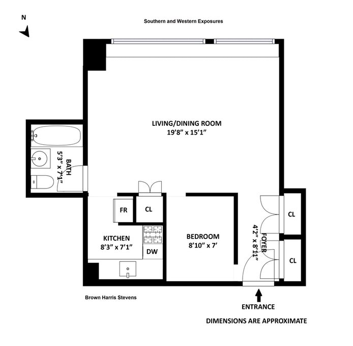 322 West 57th Street 27A, Midtown West, NYC, $1,030,000, Web #: 18808198