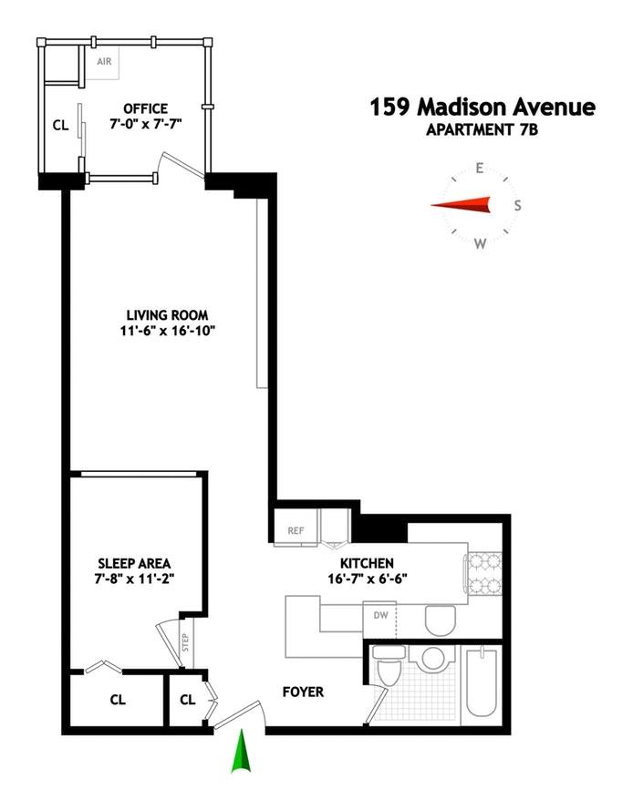 159 Madison Avenue 7B, Murray Hill Kips Bay, NYC, $499,000, Web #: 18812795