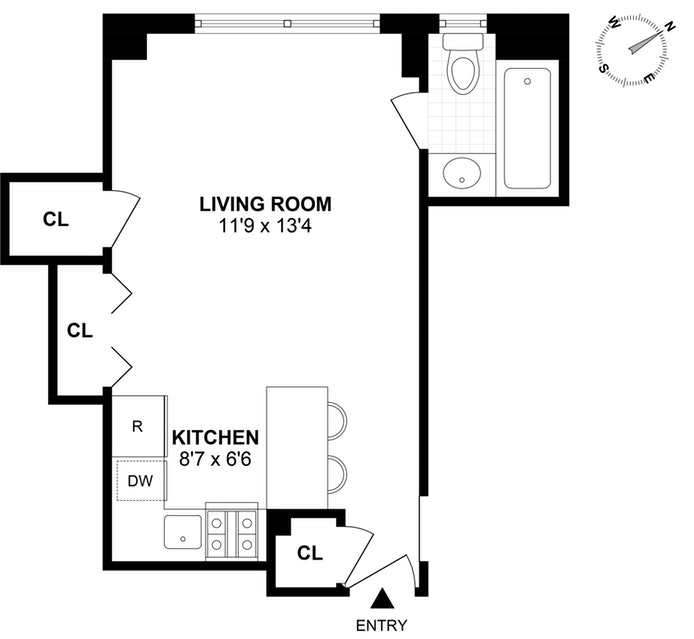 440 West 34th Street 9D, Midtown West, NYC, $2,300, Web #: 18857205