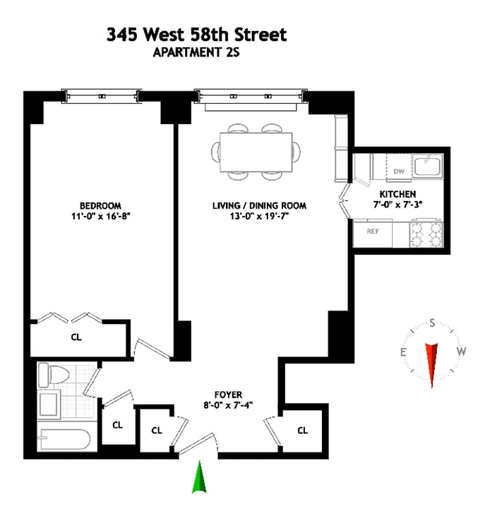 345 West 58th Street 2S, Upper West Side, NYC, $675,000, Web #: 18942201
