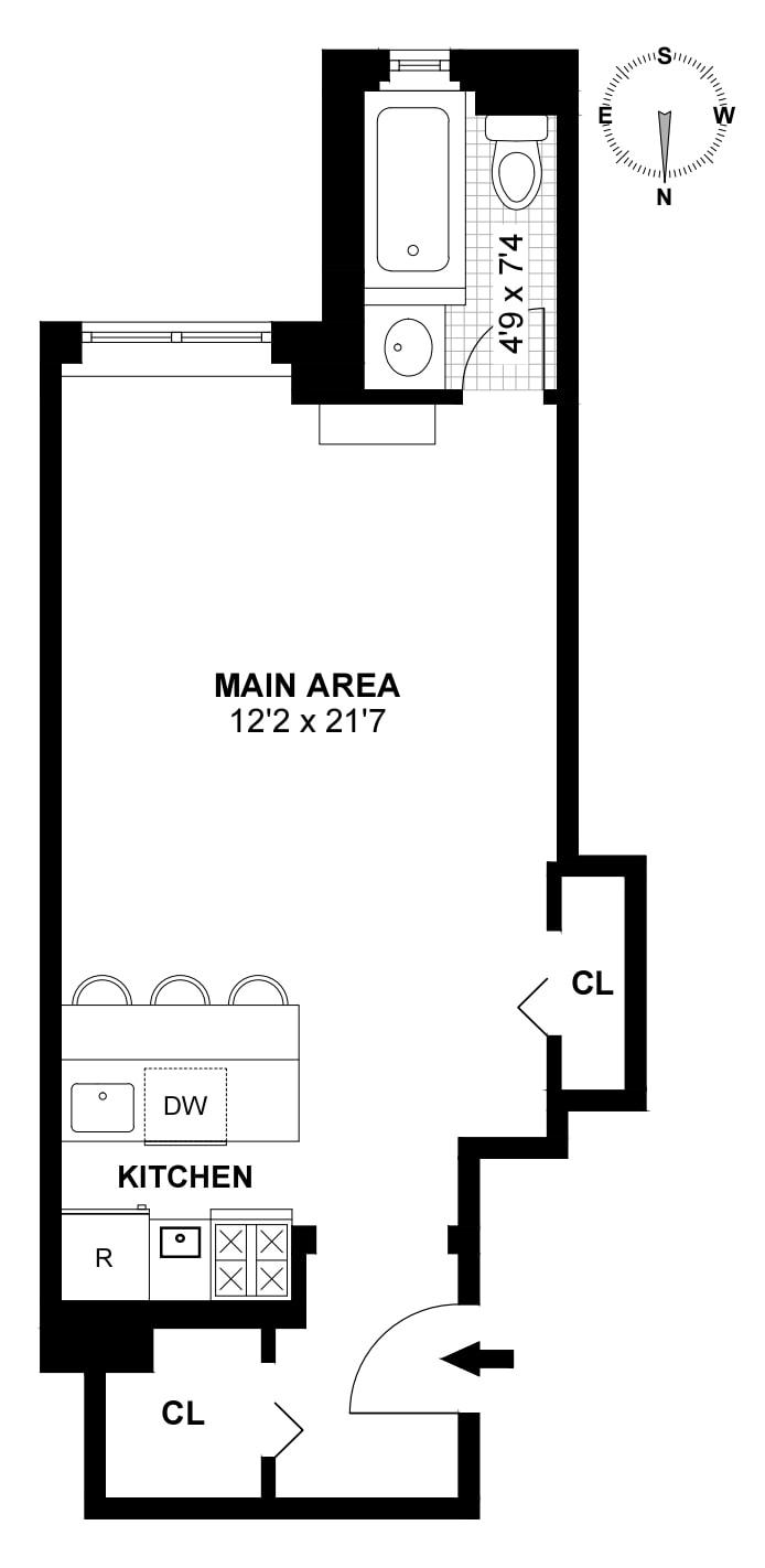 440 West 34th Street 12F, Midtown West, NYC, $2,400, Web #: 18992806
