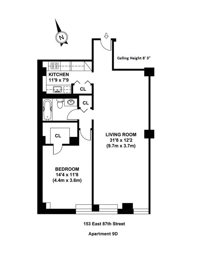 153 East 87th Street 9D, Upper East Side, NYC, $700,000, Web #: 19016415