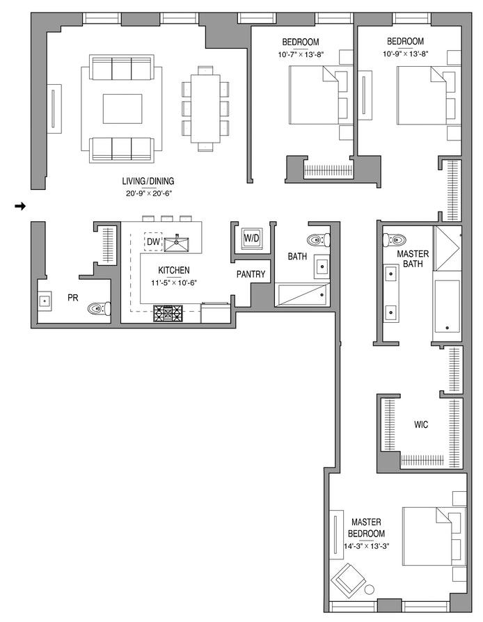 55 West 17th Street 1104, Greenwich Village/Chelsea, NYC, $3,850,000, Web #: 19092432