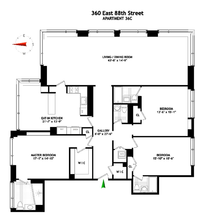 360 East 88th Street 36C, Upper East Side, NYC, $2,750,000, Web #: 19099529