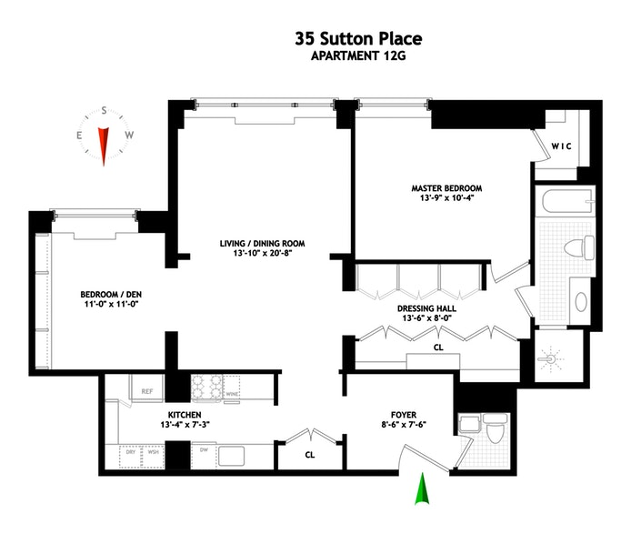35 Sutton Place 12G, Midtown East, NYC, $1,175,000, Web #: 19119716