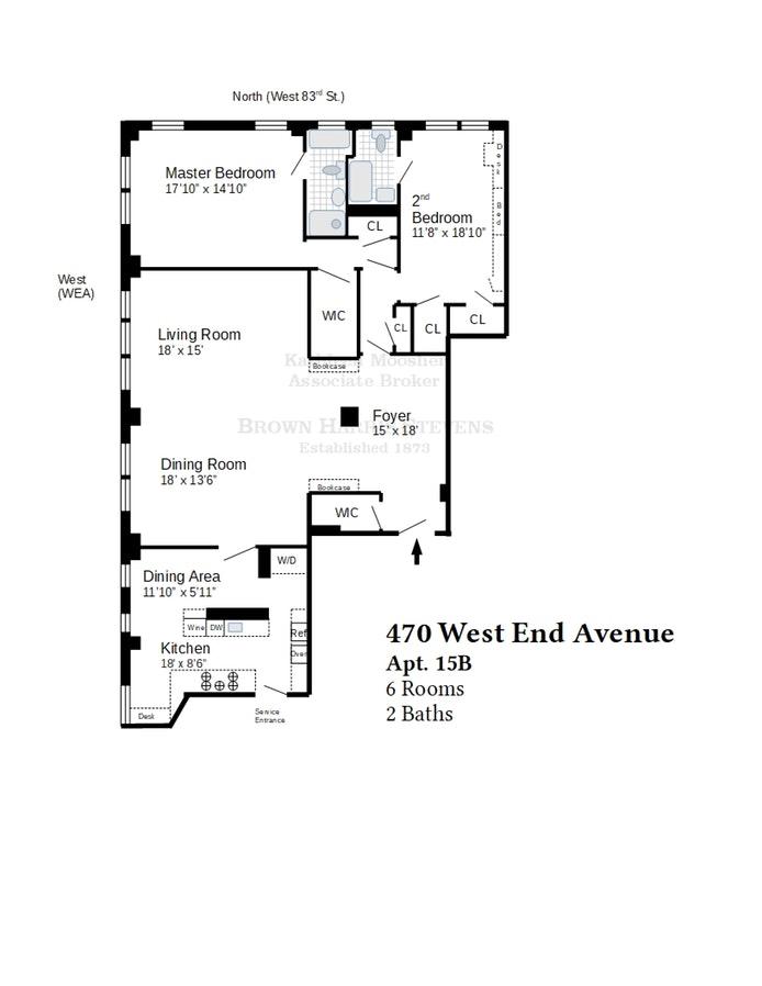 470 West End Avenue 15B, Upper West Side, NYC, $2,570,000, Web #: 19141810