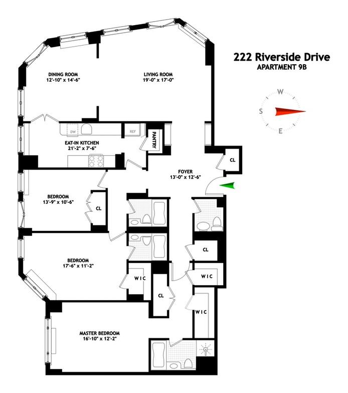 222 Riverside Drive 9B, Upper West Side, NYC, $3,250,000, Web #: 19167847