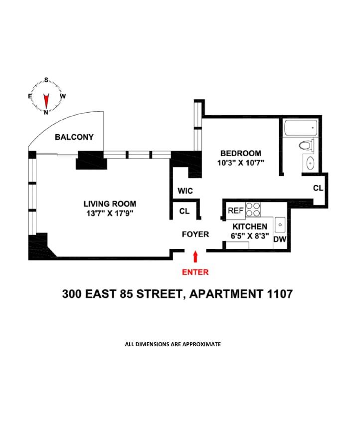 300 East 85th Street 1107, Upper East Side, NYC, $815,000, Web #: 19281183