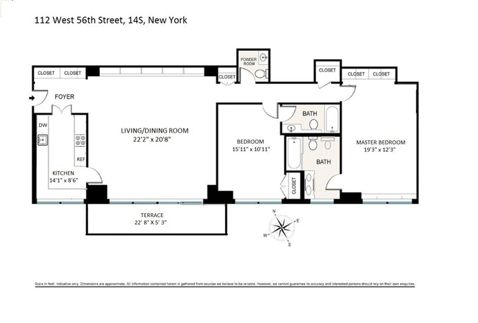 112 West 56th Street 14S, Midtown West, NYC, $4,500, Web #: 19305148