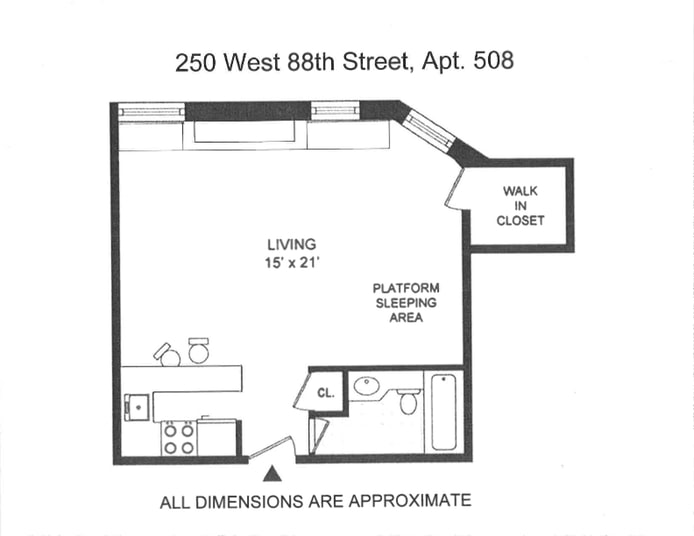 250 West 88th Street 508, Upper West Side, NYC, $530,000, Web #: 19348977