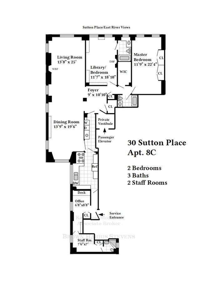 30 Sutton Place 8C/Sr8d, Midtown East, NYC, $2,150,000, Web #: 19385915