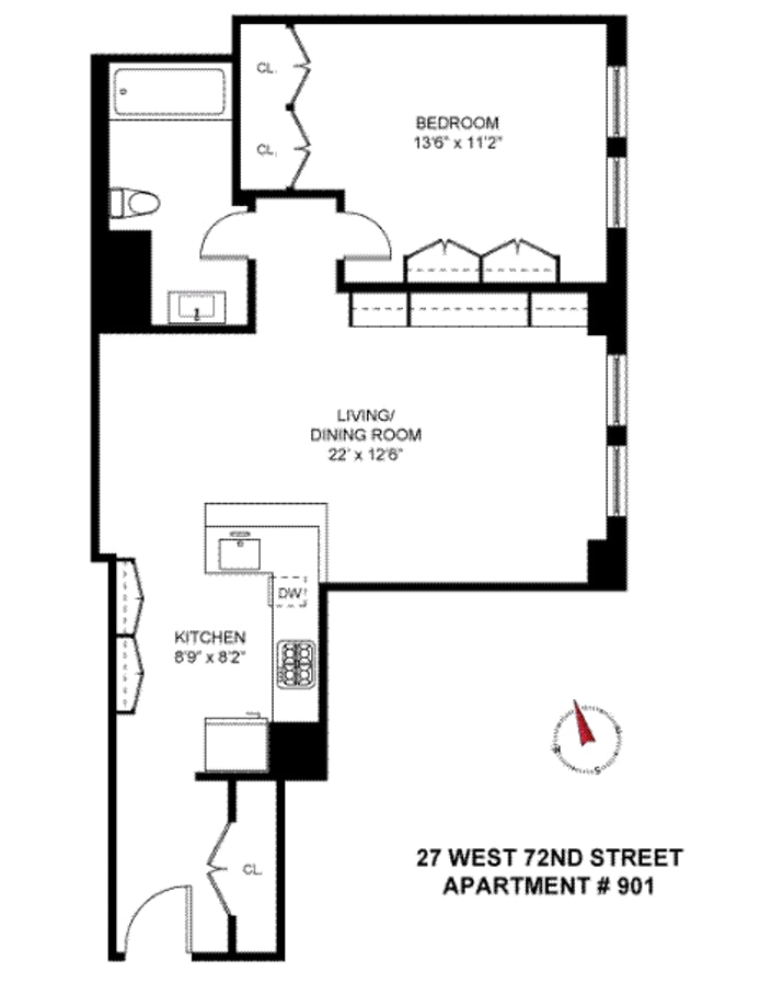 27 West 72nd Street 901, Upper West Side, NYC, $1,199,000, Web #: 19386050