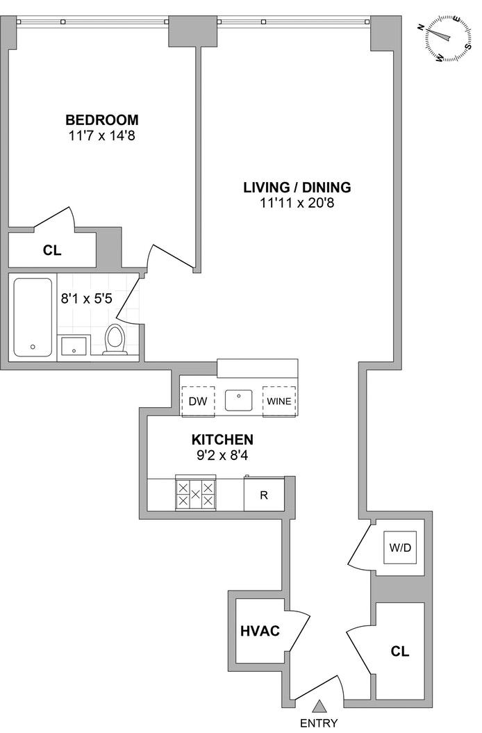 255 Hudson Street 5F, Tribeca/SOHO/Chinatown, NYC, $1,080,000, Web #: 19401875