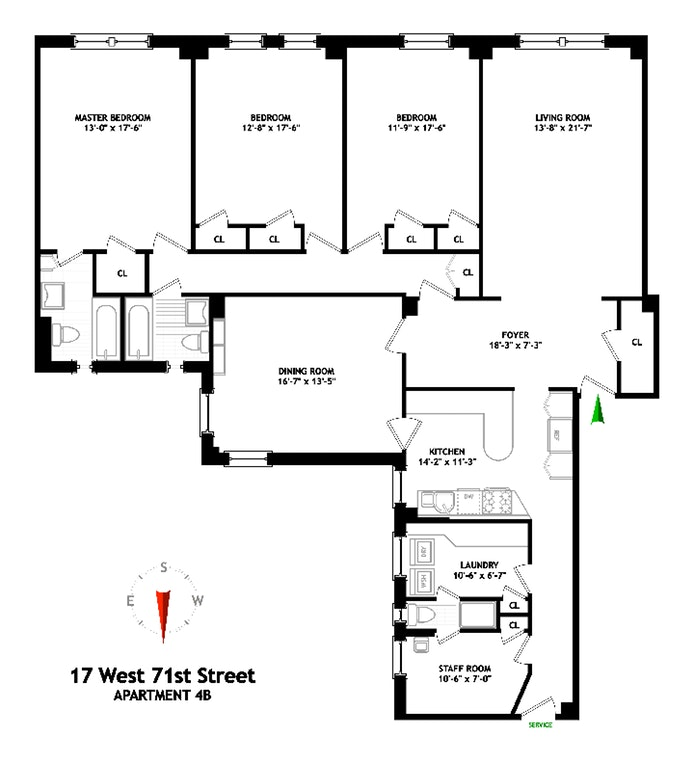 17 West 71st Street 4B, Upper West Side, NYC, $3,240,000, Web #: 19420165