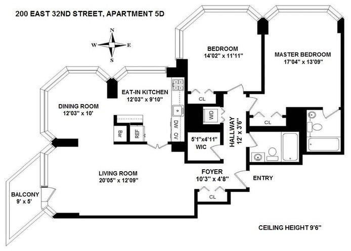 200 East 32nd Street 5D, Midtown East, NYC, $1,350,000, Web #: 19480480