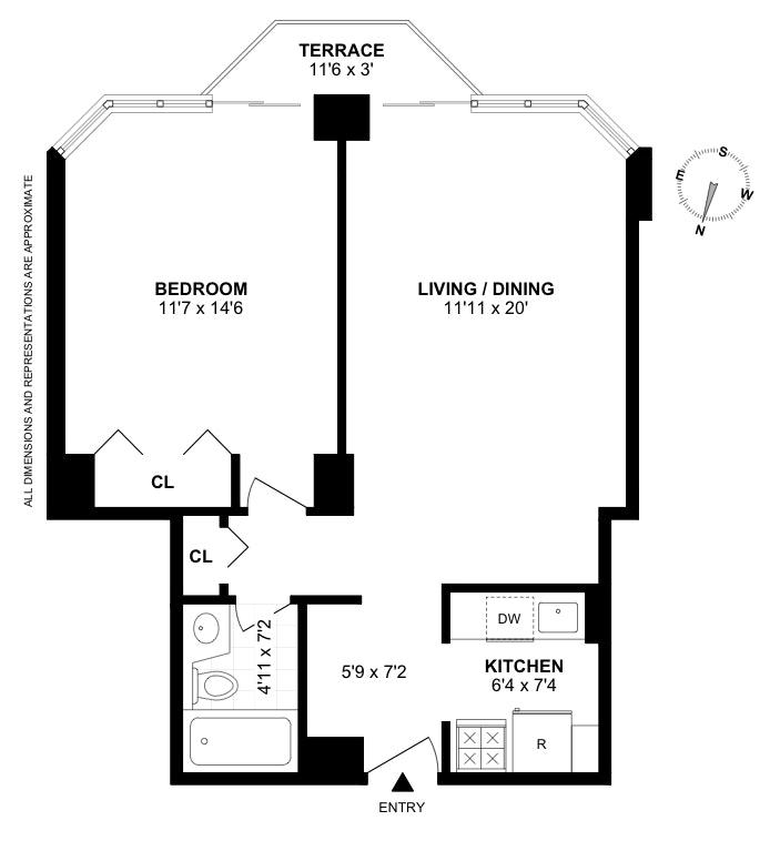 500 West 43rd Street 40B, Midtown West, NYC, $868,000, Web #: 19482511