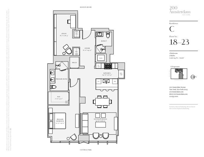 200 Amsterdam Avenue 22C, Upper West Side, NYC, $3,150,000, Web #: 19483645