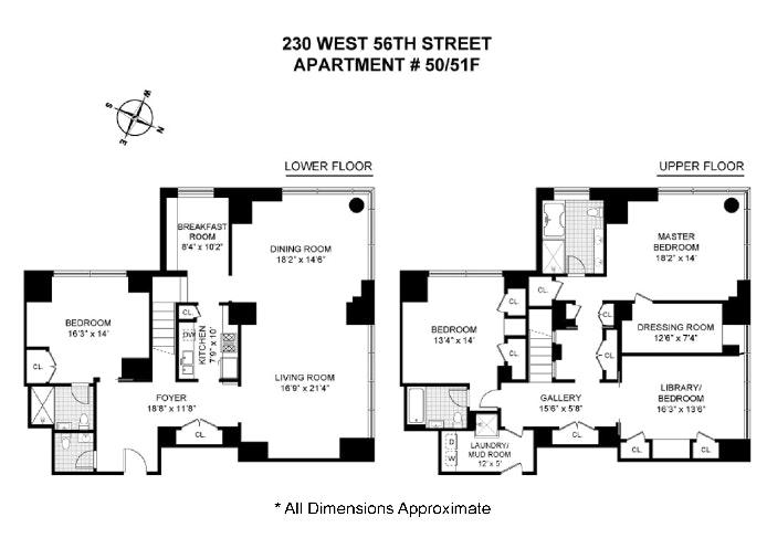 230 West 56th Street 50/51F, Midtown West, NYC, $5,995,000, Web #: 19500732