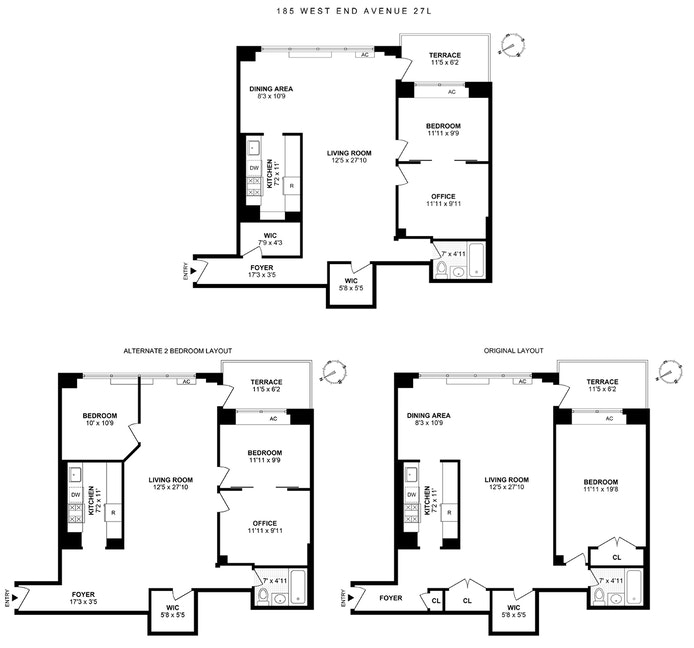 185 West End Avenue 27L, Upper West Side, NYC, $835,000, Web #: 19520127