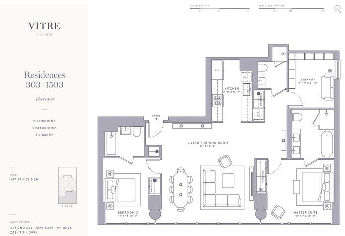 302 East 96th Street 1403, Upper East Side, NYC, $2,290,000, Web #: 19523973