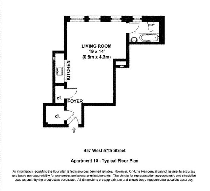 457 West 57th Street 910, Midtown West, NYC, $2,200, Web #: 19531461