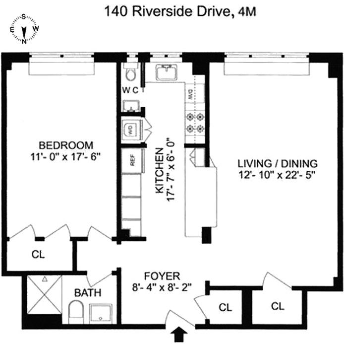 140 Riverside Drive 4M, Upper West Side, NYC, $1,210,000, Web #: 19555173