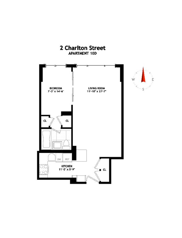 2 Charlton Street 10D, Tribeca/SOHO/Chinatown, NYC, $725,000, Web #: 19592710