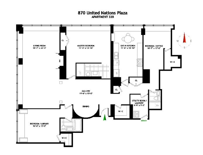 870 United Nations Plaza 33B, Midtown East, NYC, $1,942,500, Web #: 19606656