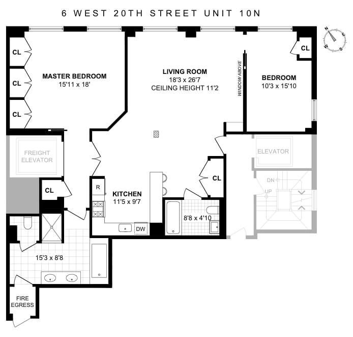 8 West 20th Street 10N, Flatiron, NYC, $1,950,000, Web #: 19614713