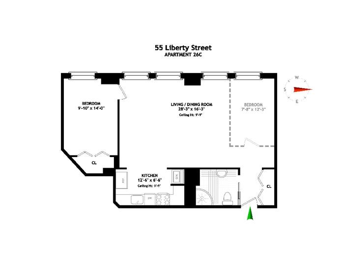 55 Liberty Street 26C, Financial District, NYC, $695,000, Web #: 19618584