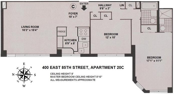 400 East 85th Street 20C, Upper East Side, NYC, $955,000, Web #: 19631262