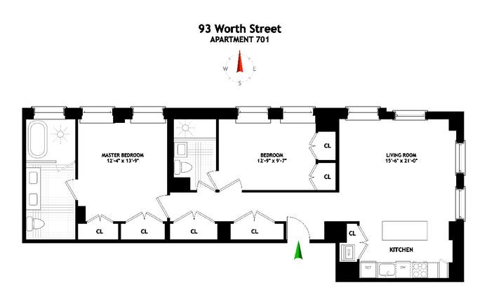 93 Worth Street 701, Tribeca/SOHO/Chinatown, NYC, $7,500, Web #: 19634894
