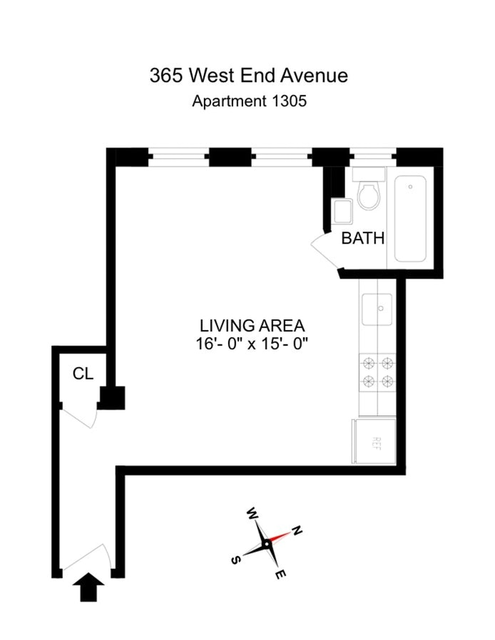 365 West End Avenue 1305, Upper West Side, NYC, $2,400, Web #: 19640924