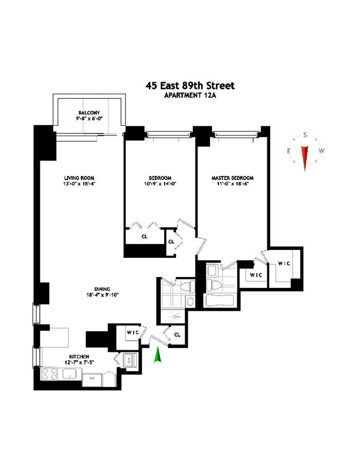 45 East 89th Street 12A, Upper East Side, NYC, $1,980,000, Web #: 19668515