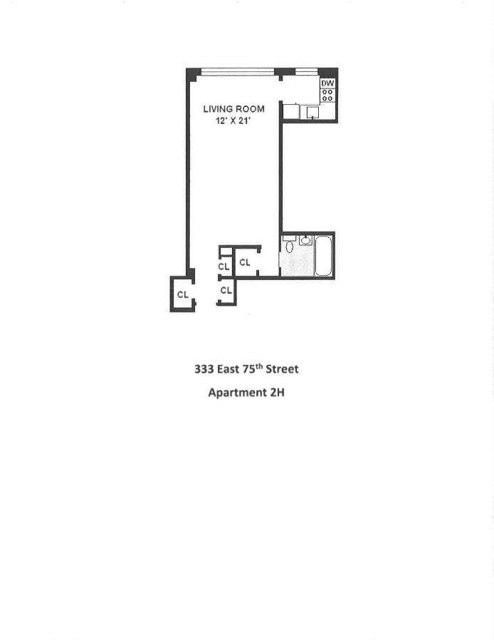 333 East 75th Street 2H, Upper East Side, NYC, $350,000, Web #: 19760730