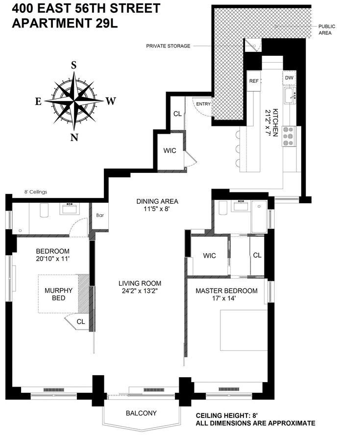 400 East 56th Street 29L, Midtown East, NYC, $1,775,000, Web #: 19776610
