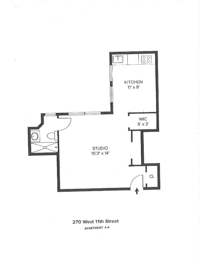 270 West 11th Street 4A, West Village, NYC, $500,000, Web #: 19848986