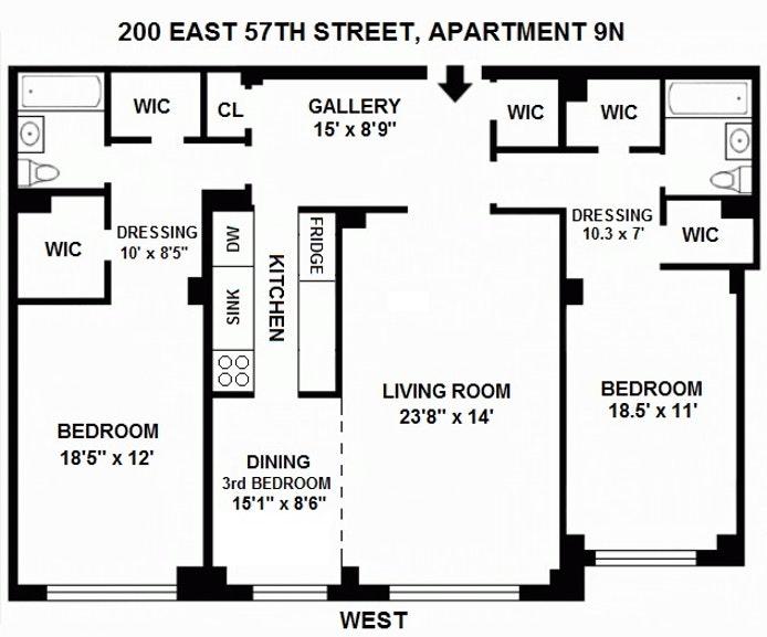 200 East 57th Street 9N, Midtown East, NYC, $1,100,000, Web #: 19866986