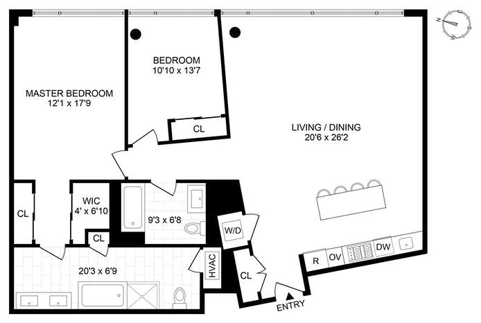 425 West 53rd Street 304, Midtown West, NYC, $1,850,000, Web #: 19870174