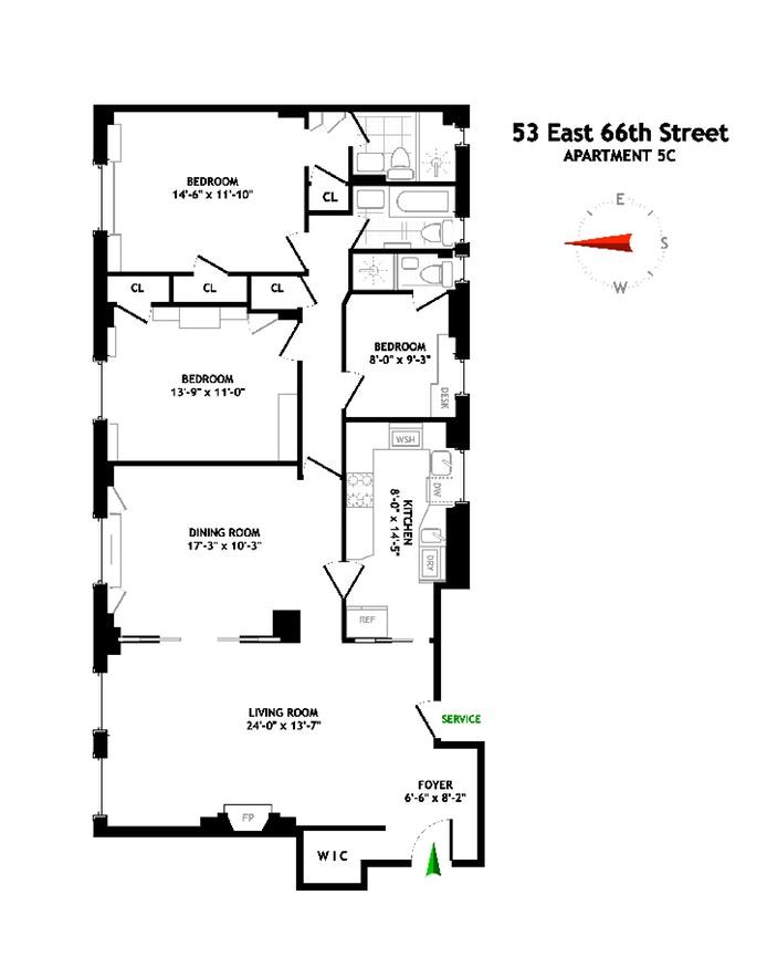 53 East 66th Street 5C, Upper East Side, NYC, $2,395,000, Web #: 19871412